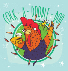 Cock or rooster with champagne and sparkler vector