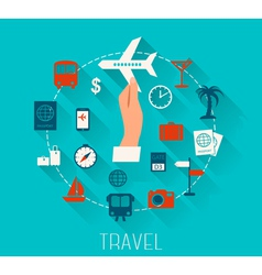 Flat design icons set of vacation and travel vector