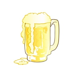 Mug of beer with overflowing foam vector