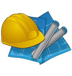 Hardhad and blueprints vector
