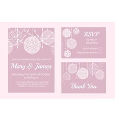 Cards with lace baubles vector