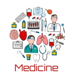 General medicine and healthcare sketches vector