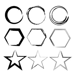 Grunge shapes Star circle hexagon Set of Hand vector image
