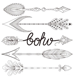 Bohemian Arrows set with henna feathers Hand vector image