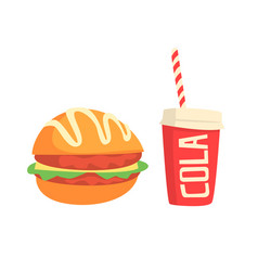 burger and cola fast food products colorful vector image vector image
