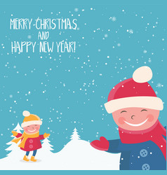 Cartoon for holiday theme with child on winter vector