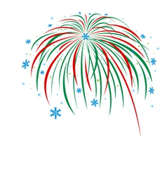 Christmas firework design on white background vector image vector image