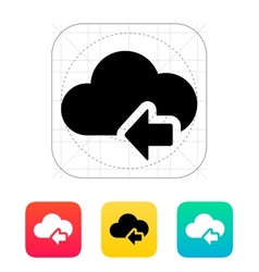 Cloud computing with previous arrow icon vector