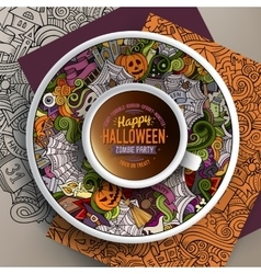 Cup of coffee and halloween doodles vector