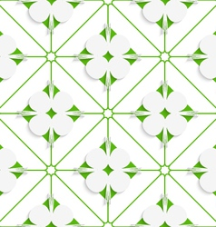 Diagonal clove leaves on green pattern vector