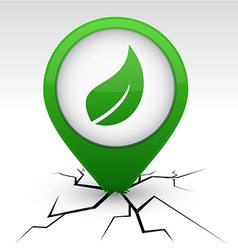 Ecology green icon in crack vector