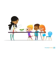 Female teacher demonstrates plant in flask kids vector image