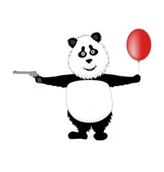 Funny panda flying with balloon and gun vector image