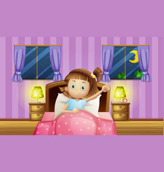 Girl going to bed in bedroom vector