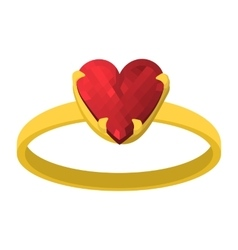 Gold ring with red heart gemstone cartoon icon vector