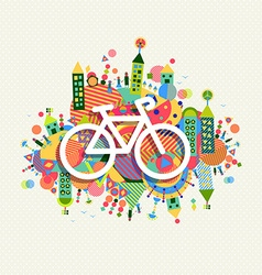 Green environment bike icon vibrant colors poster vector image vector image