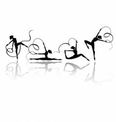 gymnastic silhouettes vector image vector image