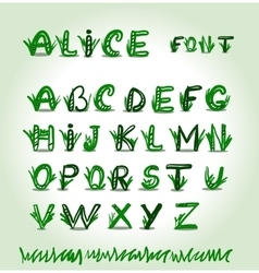 Hand drawn green font in format vector image vector image