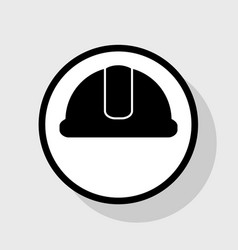 Hardhat sign flat black icon in white vector
