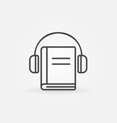 headphones with book icon vector image vector image