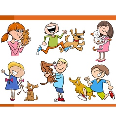 kids with pets cartoon set vector image vector image