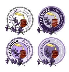 Lavender set of essential oil labels vector