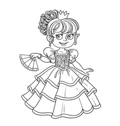 lovely princess with fan in hand outlined picture vector image vector image
