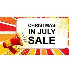 Megaphone with christmas in july sale announcement vector