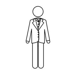 Monochrome contour pictogram of man in formal suit vector