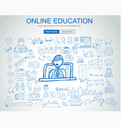 Online education concept with business doodle vector