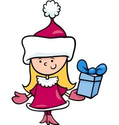santa claus girl cartoon vector image vector image