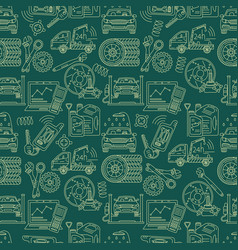 Seamless pattern with car service thin line vector