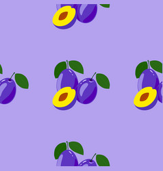 Seamless pattern with ripe tasty plum vector