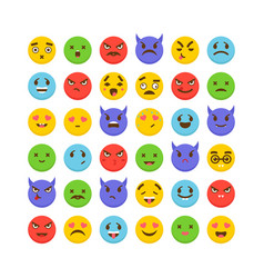 set of emoticons flat design avatars cute emoji vector image vector image