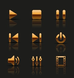 Set of golden media icons vector image vector image