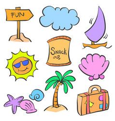 Summer element cartoon doodle set vector