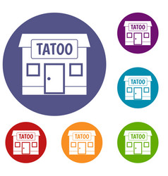 Tattoo salon building icons set vector