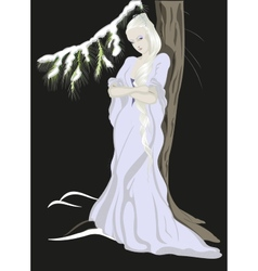 The snow queen standing near the treeeps10 vector