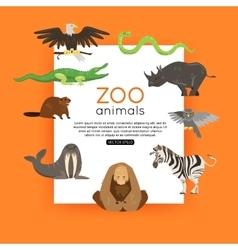 Wildlife background zoo animals banner for vector