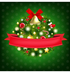 Xmas Wreath With Bells vector image vector image