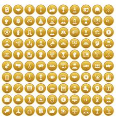 100 leadership icons set gold vector