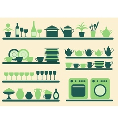 Kitchen objects silhouettes set vector