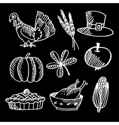Set of thanksgiving chalk sketches on blackboard vector