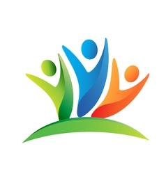 Teamwork happy people logo vector