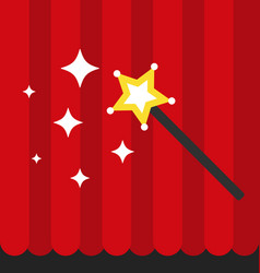 Magic wand with red curtain flat style vector