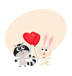 Funny rabbit bunny and raccoon holding red heart vector