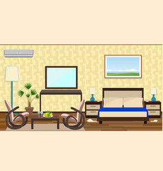 Flat style interior of a hotel room with rest vector