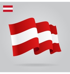 Flat and waving austrian flag vector
