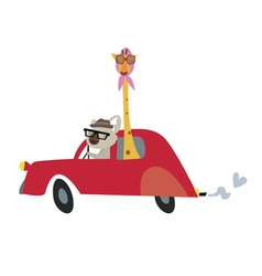 Koala and giraffe in the car vector