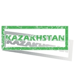 Green outlined kazakhstan stamp vector